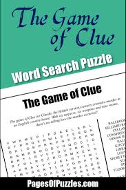 the game of clue word search u2013 pages of puzzles