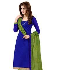 Buy Green Plain Cotton Silk Kapil Trendz Multicolor Cotton Silk Plain A Line Dress Material