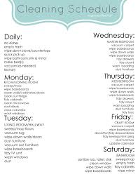 weekly cleaning schedule classy clutter