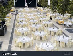 large dining table set wedding dinner stock photo 55833268