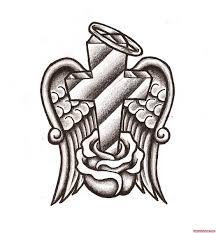 rose flower and angel winged cross tattoo design tattoo viewer com