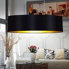 Wohnzimmer Lampe E27 Pendel Leuchte Textil Schwarz Gold Beleuchtung Hänge Lampe E27