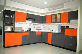 Coloured Kitchen Cabinets Intriguing Modular Kitchen With L Shape Featuring White Wooden