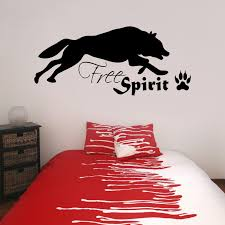 wolf free spirit with paw print vinyl wall art sticker decal wolf free spirit with paw print vinyl wall art sticker decal teenagers bedroom