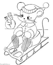 sledding fun christmas coloring pages