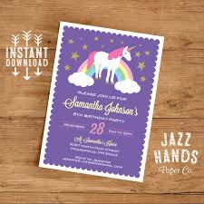 unicorn birthday invitation template diy printable unicorn