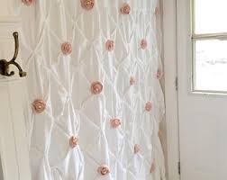 Curtain Rosettes Burlap Ruffle Shower Curtain White Cotton With Handmade