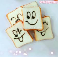 funny expression face artificial toast squishy phone charm soft
