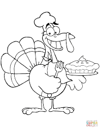 happy turkey chef with pie coloring page free printable coloring