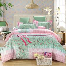 Girls Queen Size Bedding Sets by Tiffany Blue And Pink Girls Bow Pattern Vine Floral Print Rustic