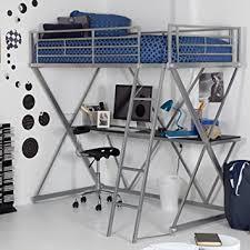 amazon com duro duro z bunk bed loft with desk silver metal