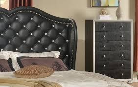 bedroom graceful glam black crystal tufted headboard details