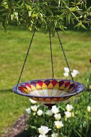 amazon com evergreen tiffany inspired hanging glass bird bath