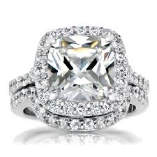 diamond wedding ring sets cushion cut cz halo wedding ring set 10mm