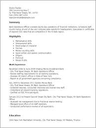 Sample Of Banking Resume by Professional Bank Operations Officer Templates To Showcase Your