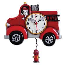 big red fire truck pendulum wall clock by allen designs