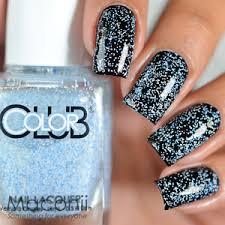 color club blue beaded modern mosaic blue white glitter nail