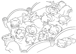 cute hamsters sleeping coloring page animal pages of
