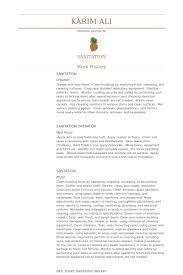 Sanitation Worker Job Description Resume Sanitation Resume Samples Visualcv Resume Samples Database