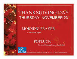 thanksgiving morning prayer and potluck st martin s metairie