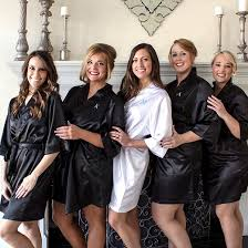 bridesmaid satin robes monogram bridesmaid black satin robe target
