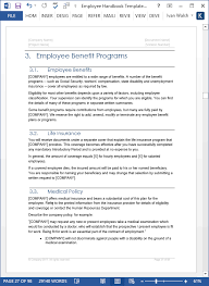 employee handbook template download 100 pg ms word templates u0026 excel