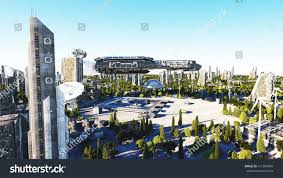 Spaceship Futuristic City Town Concept Future Stock Illustration