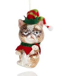 glass grumpy cat ornament created for macy s