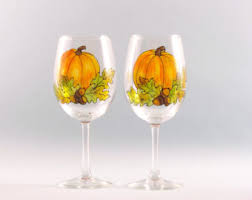 fall wine glasses painted acorn design set of two