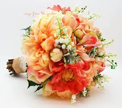 of the valley bouquet coral grey salmon bridal bouquet of the valley dahlias