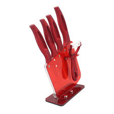 chef safe com zirconia red handle ceramic knife with holder