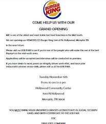 job fair for new burger king popeye u0027s in memphis lucy u0027s