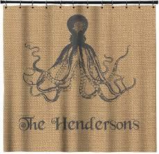 Burlap Shower Curtains Octopus Burlap Print Shower Curtain Personalized Potty