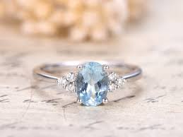 aquamarine engagement rings 5x7mm oval cut aquamarine ring solid 14k white gold aquamarine
