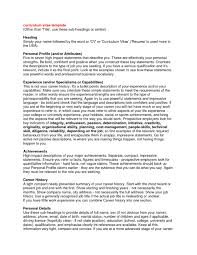 examples of resume personal objectives profile example for resume