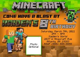 free printable birthday invitations minecraft ideas for minecraft birthday invitations templates on free printable