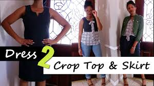 how to turn a dress to a crop top skirt upcycle blueprint