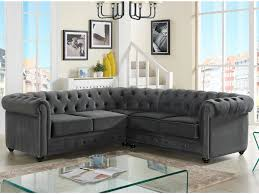 vente canape chesterfield canapé d angle en velours anthracite chesterfield tendance
