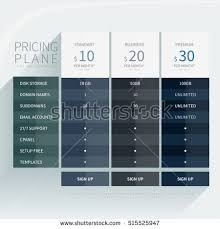 price plan design pricing comparison plan set commercial business stock vector