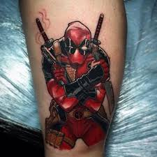 black and red ink deadpool gun tattoo on calf u2013 truetattoos