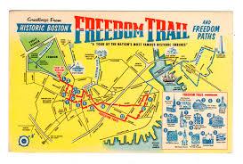 Boston Harbor Map by Chrome Postcard Freedom Trail Boston Massachusetts Map