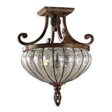 tuscan bronze bathroom lighting iron glass semi flush mount chandelier ceiling light fixture