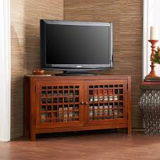 Corner Tv Cabinets For Flat Screens With Doors Amazon Com Narita Corner Media Stand Walnut Kitchen U0026 Dining