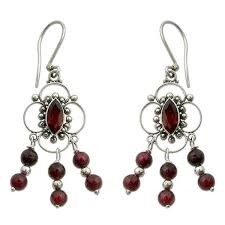 Garnet Chandelier Earrings Handmade Sterling Silver Blossoms Garnet Chandelier