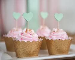 mint heart cupcake toppers paper cupcake bridal showers and
