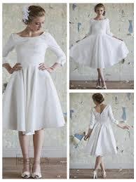classic vintage a line 3 4 length sleeves tea length wedding