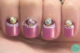 bridal wedding nail art design 3d fusion of pearls beads classy