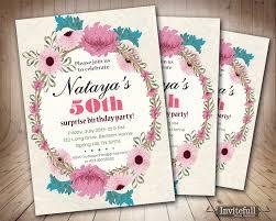 50th Birthday Invitation Cards Printable Birthday Party Invitation Floral Birthday
