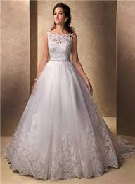 Lace Wedding Dresses Princess Ball Gown Bateau Neckline Tulle Lace Wedding Dress With