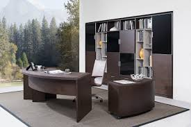 Office Desk Essentials Highland Modern Brown Oak Office Desk W Cabinet
